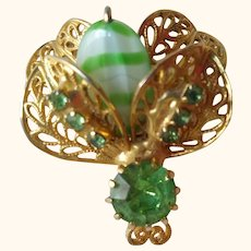 Goldtone and Green Insect Pin
