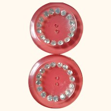 Two Rhinestone Trimmed Large Buttons From The 40's or 50's