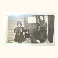 Photo Post Card of Two Identified Girls and A Doll
