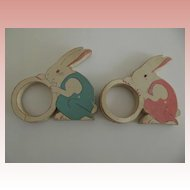 Pair of Wood Rabbit Napkin Holders