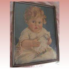 Maud Fangel Print Child and Lamb on Wheels