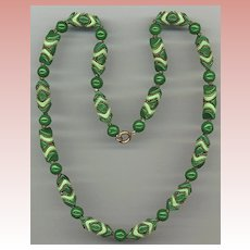 Green Glass With Brass Trim Necklace