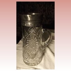 Cut Glass Pitcher With Silver PLate Top