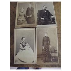 Four Civil War Era Carte de Viste One with Revenue Stamp