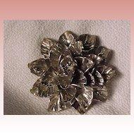 Large Vintage Silvertone Flower Pin