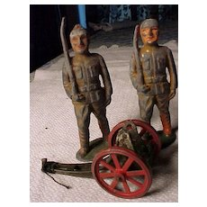 Pair of OLd Soldiers and A Cannon