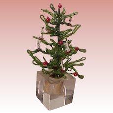 Vintage Beaded Christmas Tree Glass Base 1970s Xmas Decoration