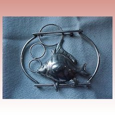 Huge Sterling Fish Pin