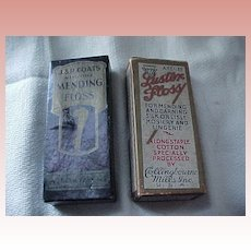 Two Old Silk Stocking Mending Thread Boxes