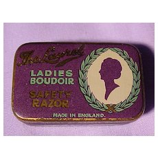 Vintage Tiny Ladies Safety Razor In Original Tin