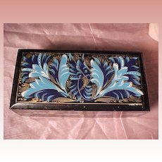 Lacquered Box With Blue Design