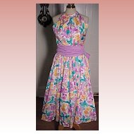 Vintage Water Color  Print Sundress