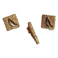 Swank Gold-tone Leaf Cuff Links and Tie Clip Set