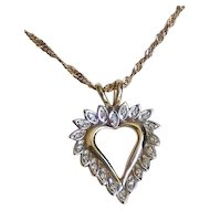 Vintage 10K Yellow White Gold Diamond Heart Necklace.