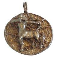 Vintage Sagittarius The Archer Carved Bronze Pendant