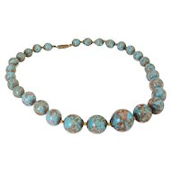 Murano Glass Aqua Blue Choker Necklace