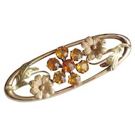 10K Yellow Green Gold Oval Floral Brooch Citrine Stones.