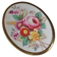 Royal Worcester Hand Painted China Floral Brooch