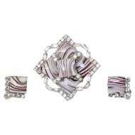 Jay Flex Sterling Banded Agate RS Brooch & Earrings