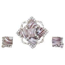 Jay Flex Sterling Banded Agate RS Brooch & Earrings - Red Tag Sale Item