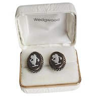 Vintage Wedgwood Black Jasperware Sterling Earrings