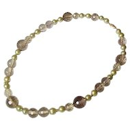 Smoky Quartz Beads Cultured Green Pearls 14K Gold Clasp Necklace