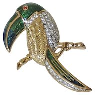 Ciro England Guilloche Enamel & Rhinestones 18K Gold-plated Figural Toucan Brooch