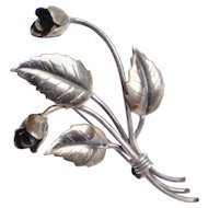 John Lauritzen Denmark Figural Roses Sterling Brooch