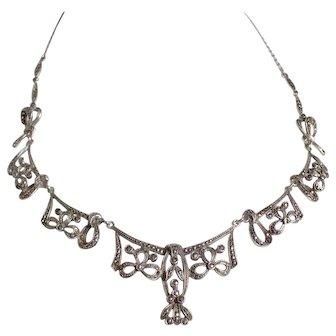 Marcasite & Silver Necklace -Czechoslovakia