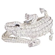 Coiled Alligator Rhinestone Clamper Bracelet