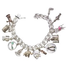Sterling Link Bracelet with 13 Charms