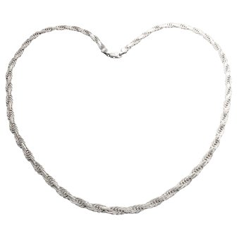 Sterling Silver Flat Twisted Rope Necklace