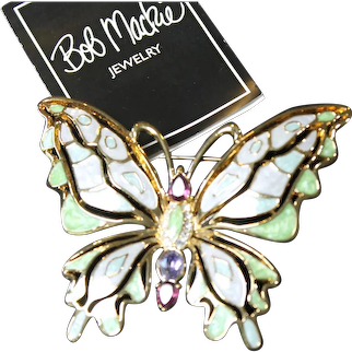 Gorgeous Enameled Butterfly Pin