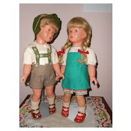 Pair Celluloid 16in. German Kathe Kruse Boy & Girl  All Original   Fabulous