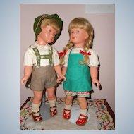 Pair Celluloid 16in. German Kathe Kruse Boy & Girl  All Original   Fabulous