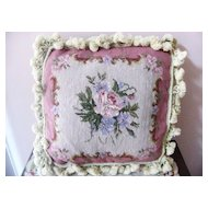 Square Pink Rose Needlepoint Pillow Hand Made  Beautiful