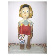 "Rare Disney 16in. ""Pinocchio""  Krueger Toy Co.  c. 1940  Original Excellent"