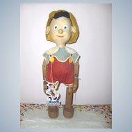 """Rare Disney 16in. """"Pinocchio""""  Krueger Toy Co.  c. 1940  Original Excellent"""