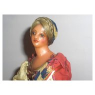 19th c. Rare Wax Peddler Lady All Original Early and Fabulous