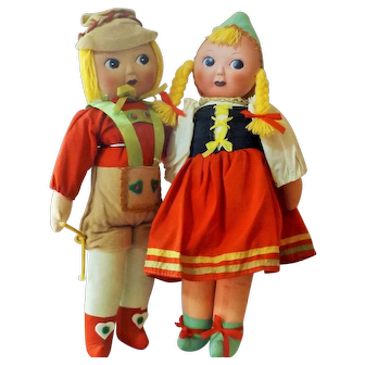 Twin Brother & Sister Googlies Bisque Face/Cloth Bodies  Very Unusual