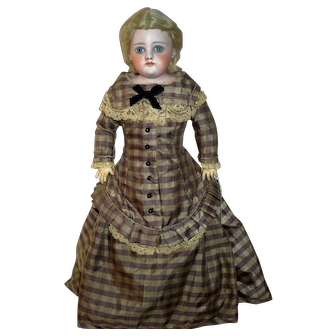 """17"""" German Bisque Closed Mouth with Rare Body, Stunning Antique Doll"""