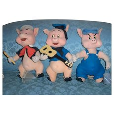 Super Rare Three Little Pigs Doll Set by Lars of italy c.1950
