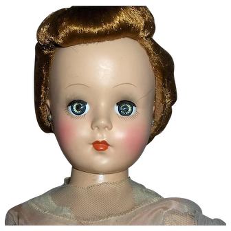 """Rare 18"""" Mollyes H.P. """"Mamie Eisenhower"""" Doll in Original  Pink Ball Gown c. 1950  FABULOUS"""