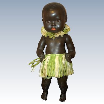 """15"""" Rare Large Size Celluloid Black Island Toddler Baby"""