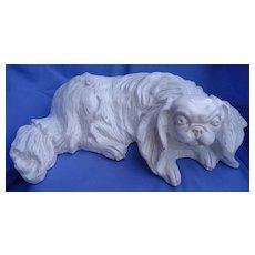 "15"" Cavalier King Charles spaniel tin glaze French Faience pottery dog"