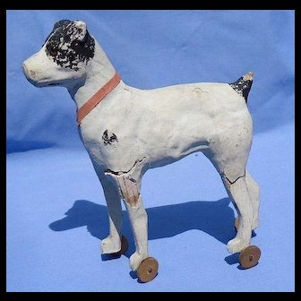"Papier Mache Fripon fox terrier putz dog  pull toy  French fashion doll Germany 6"""