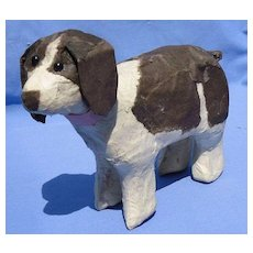 "Papier Mache English setter Springer spaniel salon dog French fashion doll 7"""
