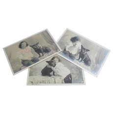 3 French Bulldog photo postcards Paris 1904