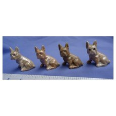 4 French Bulldog luster wear doll house mini dogs