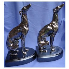 """1920s silver Whippet Italian Greyhound JB dog bookends 10"""""""